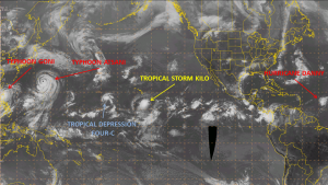Satellite photo from NWS Ocean Prediction Center showing 5 active tropical cyclones on August 21, 2015.