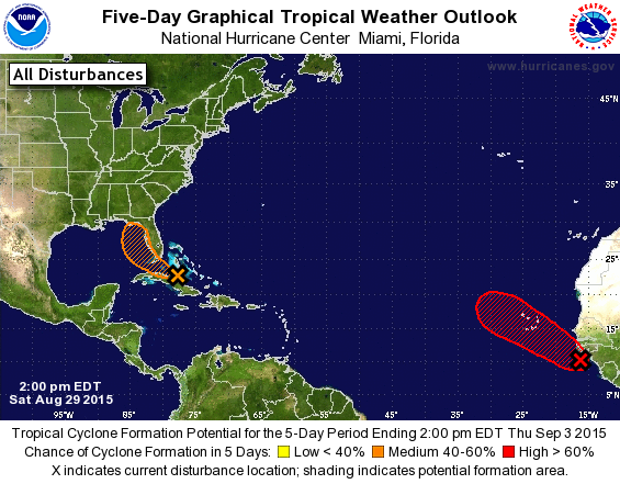 Five-day outlook for tropical cyclone development.