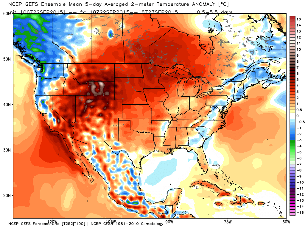 Temperature anomaly forecast for the next 5 days. (Image from WeatherBell)