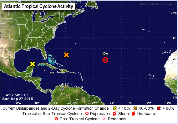 Tropical cyclone activity over the Western Atlantic with Ida's remnants and two other areas worth watching.