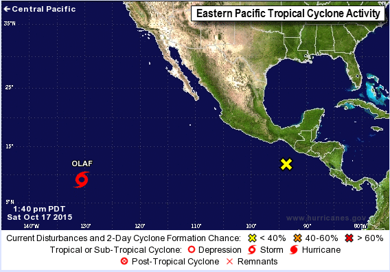 Current tropical activity with Tropical Storm Olaf and the area to watch near Central America.