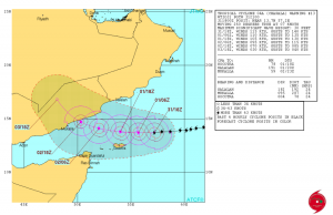 Chapala's track and warning cone over the next few days.