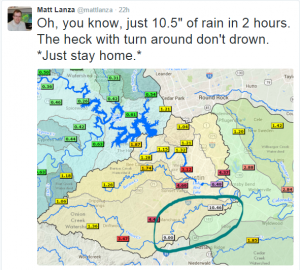 Tweet from Matt Lanza showing the location of a 10+ inch rainfall report in 2 hours.