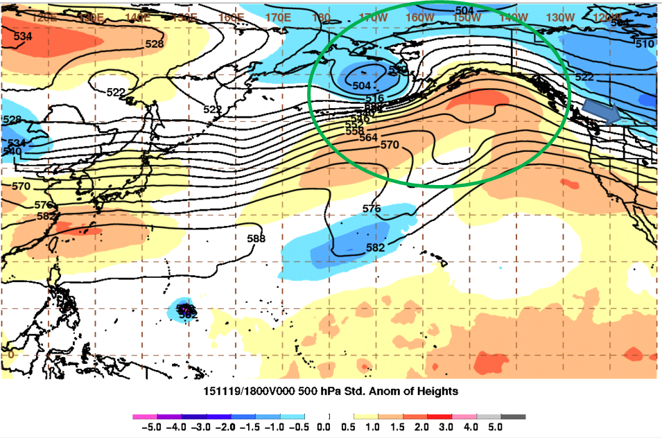 The low pressure system from Eastern Asia moves into Alaska.