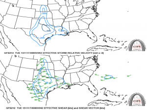 Monday helicity (top) and shear (bottom) forecast. 200 m2/s2 of helicity is enough for tornadoes. 30 kts of shear is enough for tornadoes.