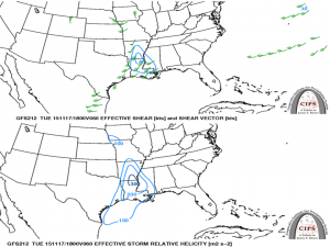 Monday shear (top) and helicity (bottom) forecast. 200 m2/s2 of helicity is enough for tornadoes. 30 kts of shear is enough for tornadoes.