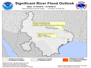 Areas to watch for flooding during upcoming rain storm. Via the West Gulf River Forecast Center.