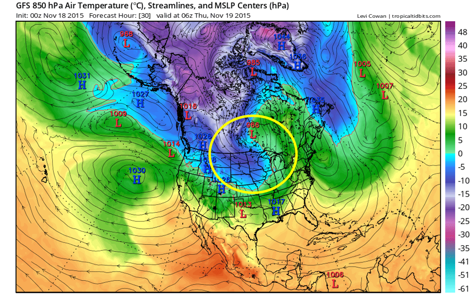Area encircled by yellow shows the colder (cool colors) flowing into the Northern Plains from Canada on the back end of the low pressure system in Central Canada.
