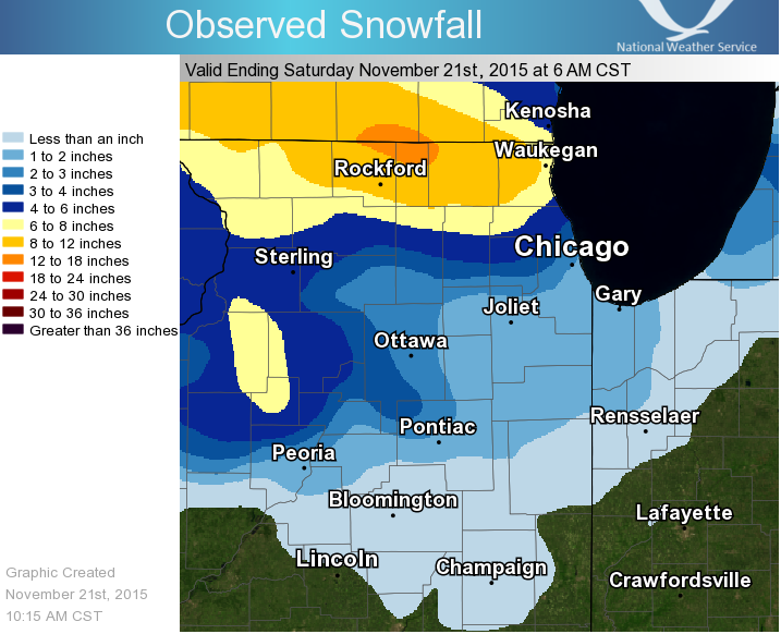 Snow totals in Northern Illinois up to Saturday morning.