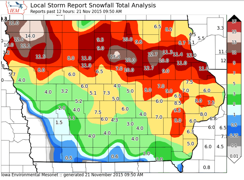 Snow totals in Iowa up to Saturday morning.