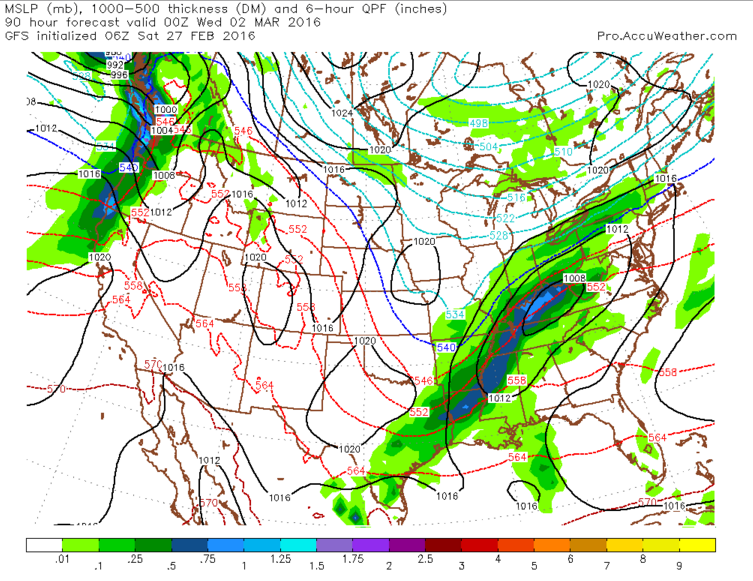 GFS model depiction of overnight snowfall or freezing rain.