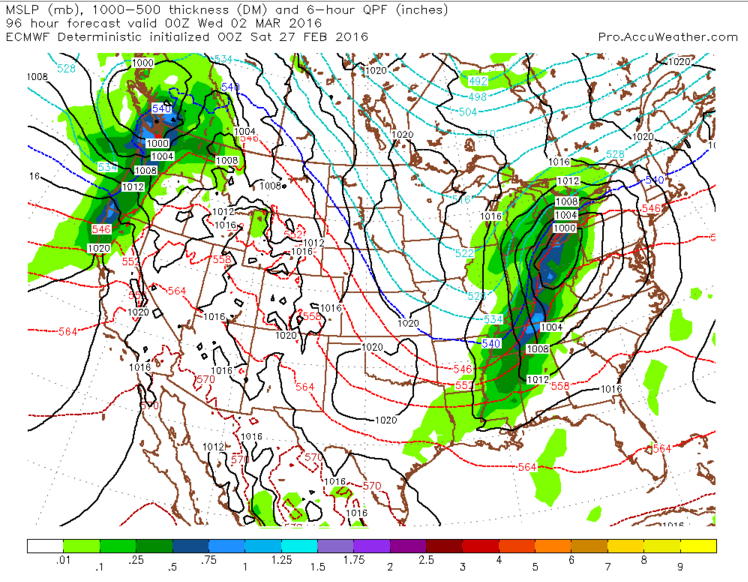 European model depiction of a more northerly track and less colder air for snow or freezing rain.