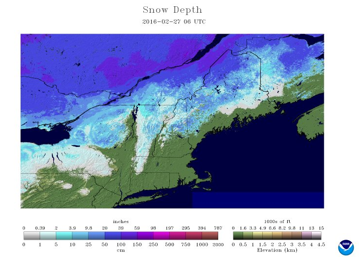 Current snow pack as of Friday night.