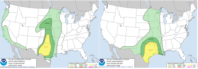 Storm Prediction Center forecast of severe weather risk for Monday (left) and Tuesday (right). Hazards for Monday: marginally severe hail. Hazards for Tuesday: all hazard types including tornadoes are possible.