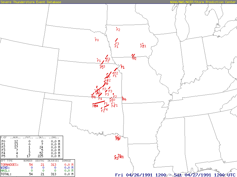 Plot of all 55 tornadoes that were reported on April 26, 1991 across the Central and Southern Plains. Image courtesy of the Storm Prediction Center