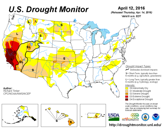 Moderate to Severe drought conditions have formed in portions of the Central and Southern Plains.