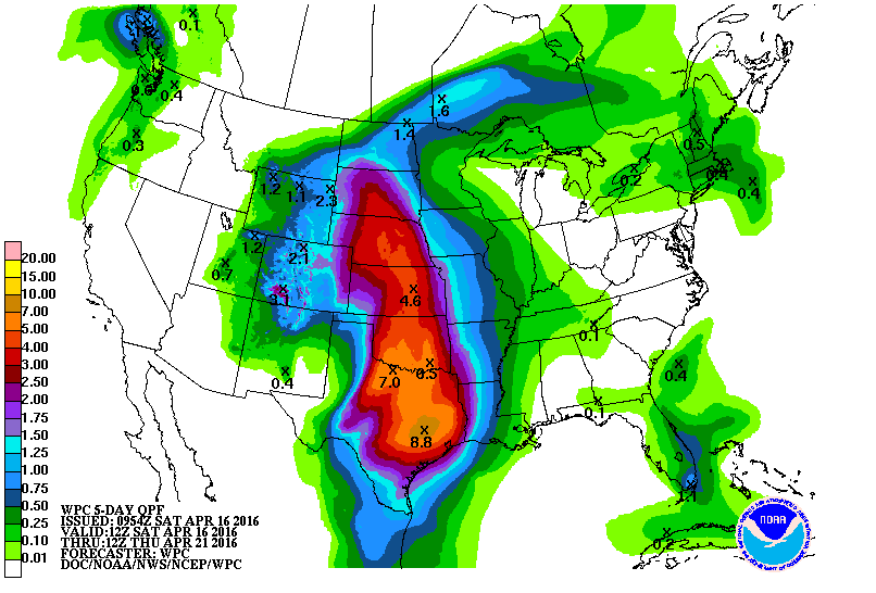 Forecast precipitation over the Plains region. Notice the 4 to 8+ inches of rainfall forecast.