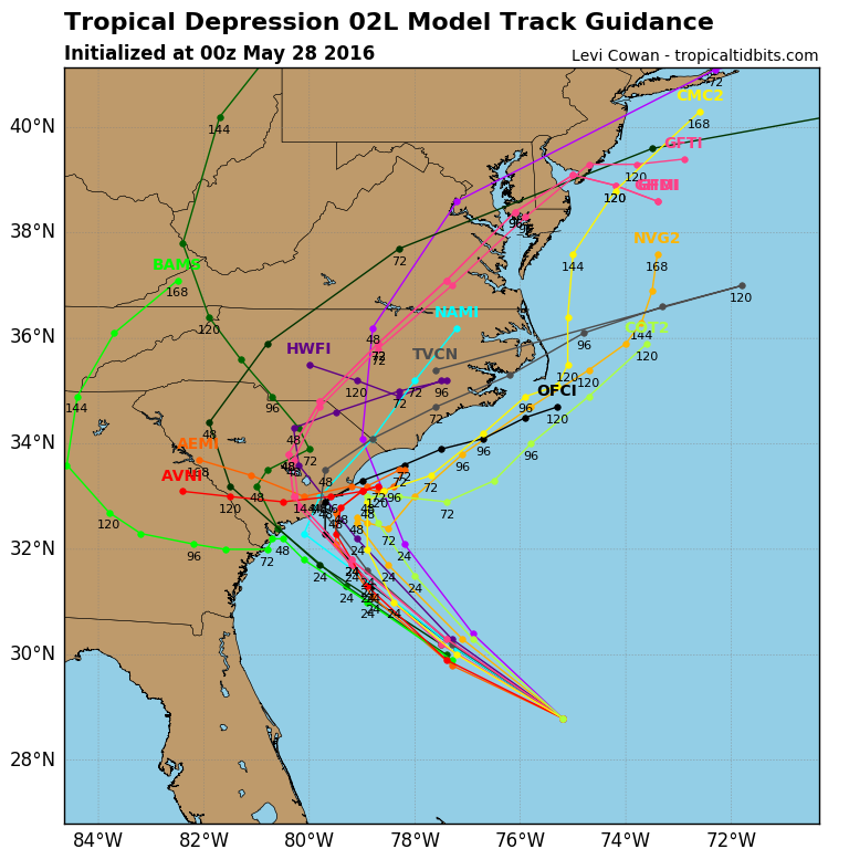 Model forecasts for the track of Tropical Depression Two. Image provided by tropicaltidbits.com