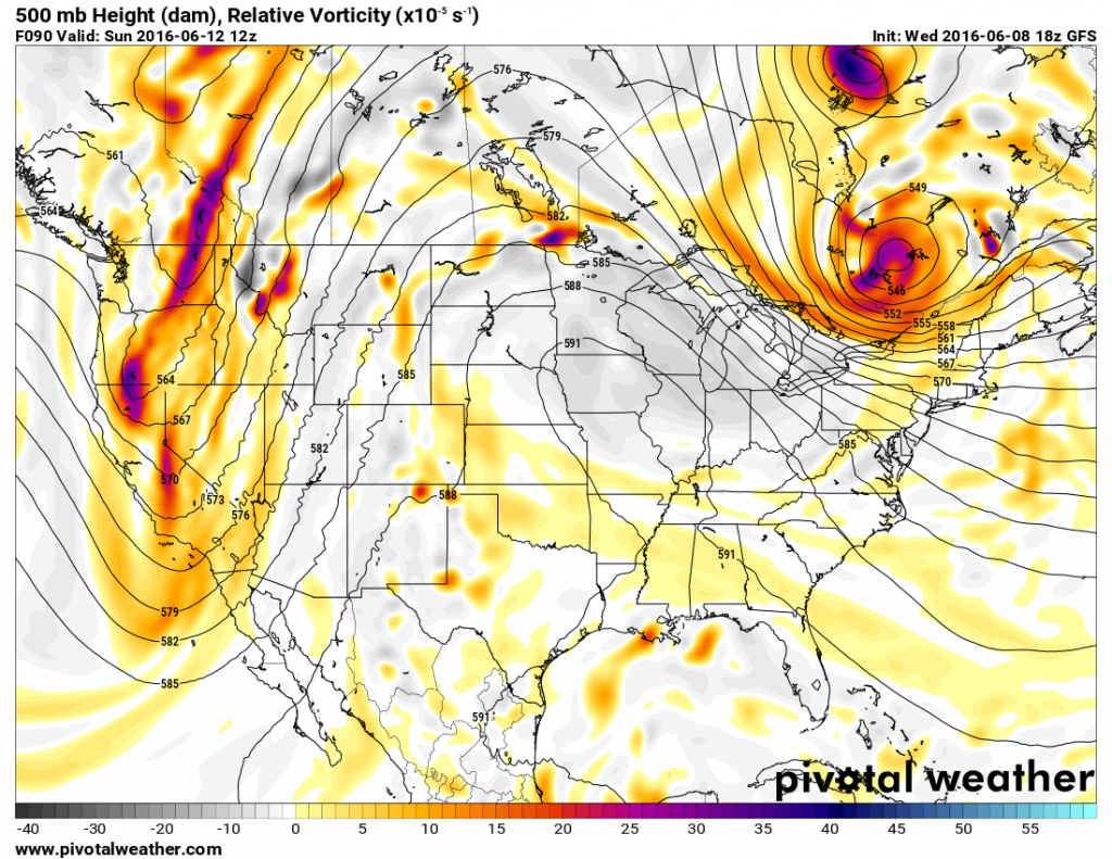 Map showing heights at the 500mb level across the United states on Friday June 8. Image provided by Pivotal Weather.