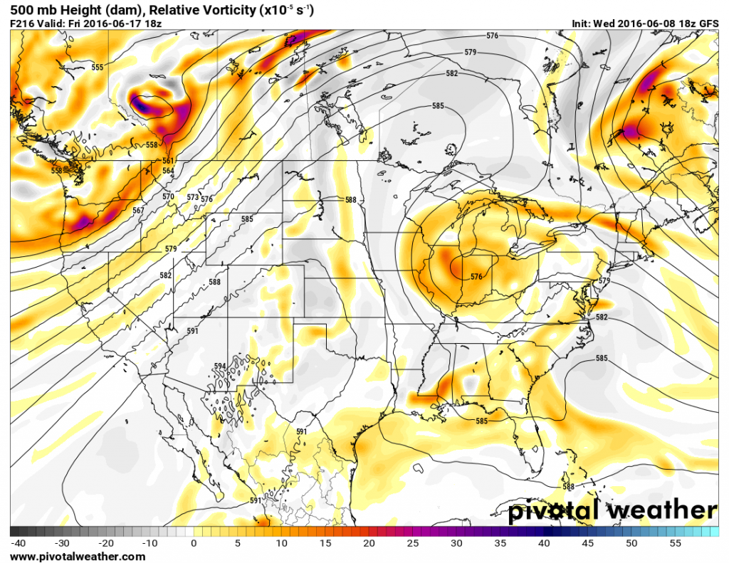 Map showing heights at the 500mb level across the United states on Friday June 15. Image provided by Pivotal Weather.