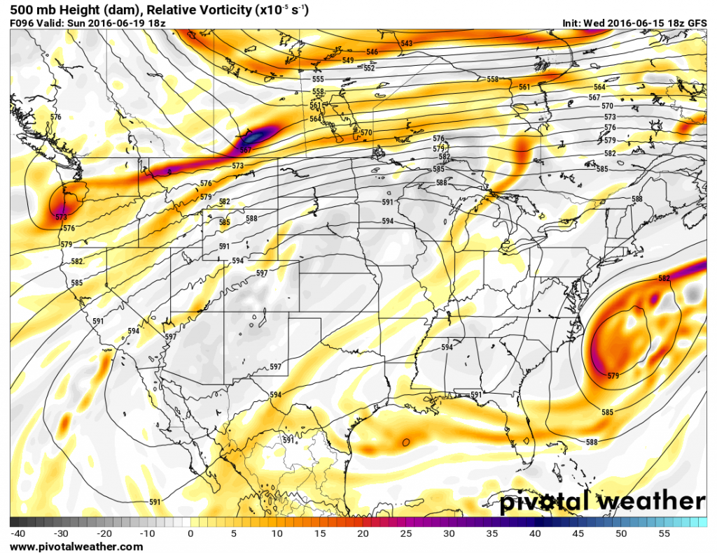 Forecast for 500mb heighs for Sunday June 19. Image provided by Pivotal Weather.