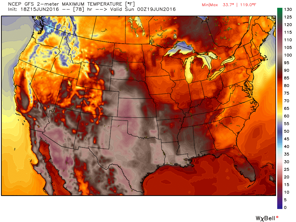 High temperature forecast for Sunday June 19. Image provided by WeatherBell.