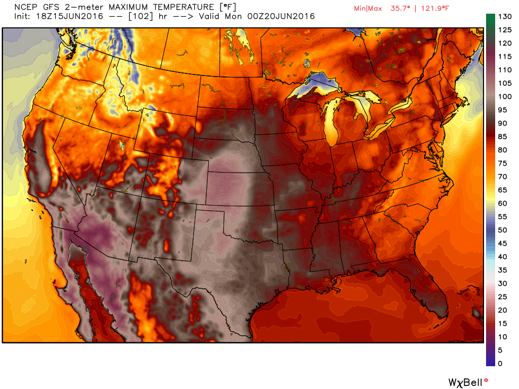 High temperature forecast from the GFS model for Sunday June 19. Image provided by WeatherBell.