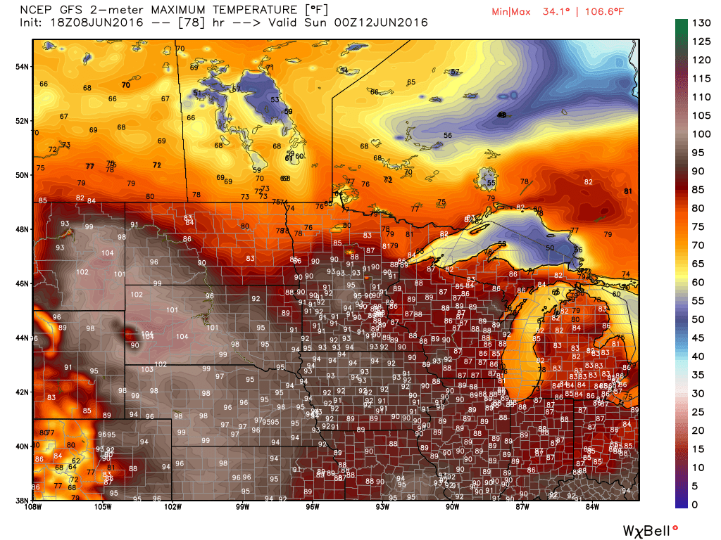 High temperature forecast based off of the GFS model for Friday June 10. Image provided by WeatherBell