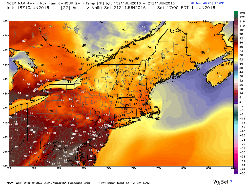 High temperature forecast for Saturday afternoon based on the WRF model. Image provided by WeatherBell.