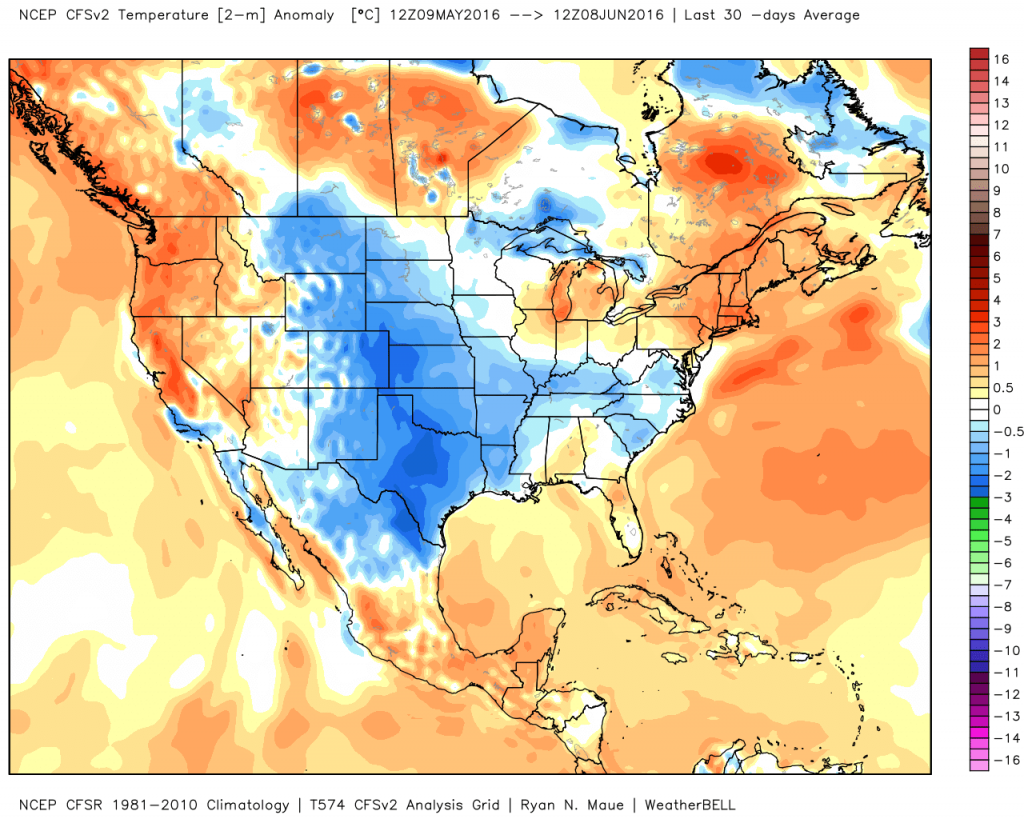 Temperature anomalies for the past 30 days across the nation. Image provided by WeatherBell.
