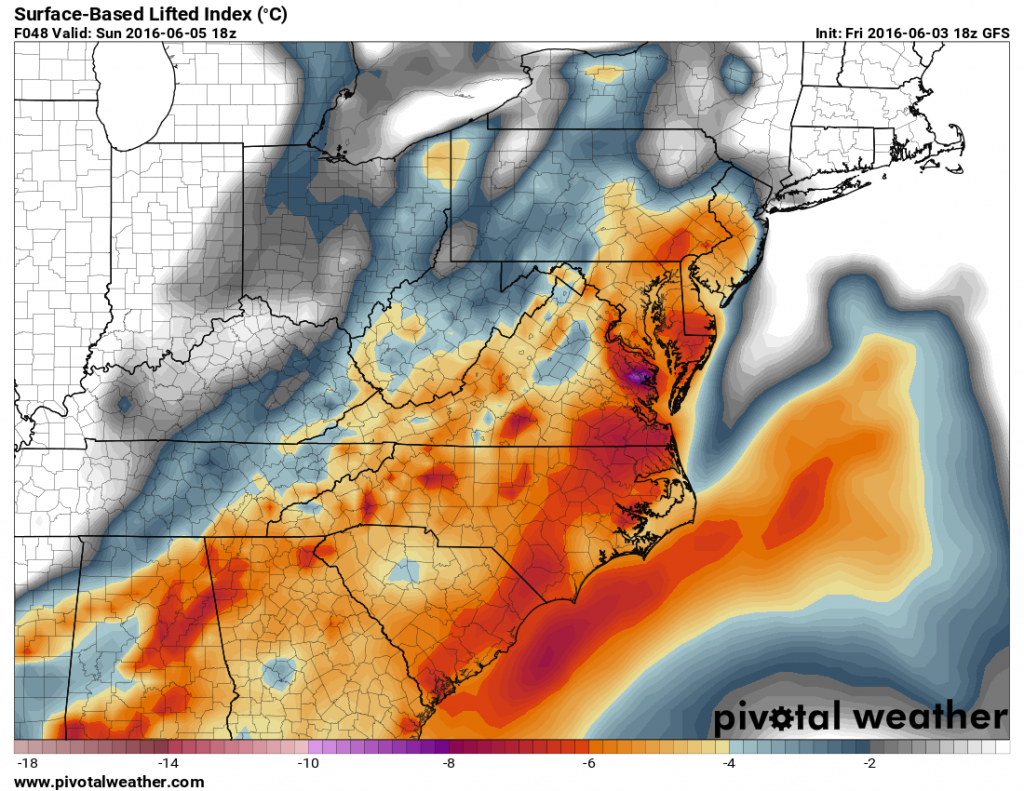 GFS forecast of Lifted Index values for Sunday afternoon. Image provided by Pivotal Weather