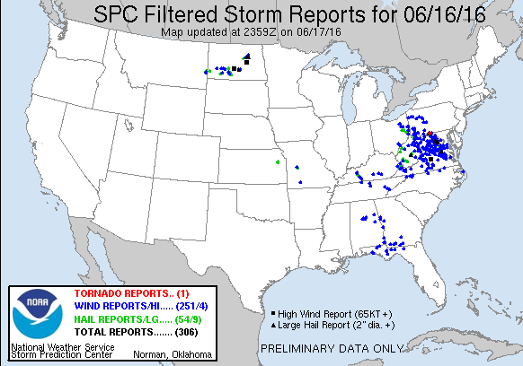 Reports of severe weather from Thursday June 16. Image provided by the Storm Prediction Center.