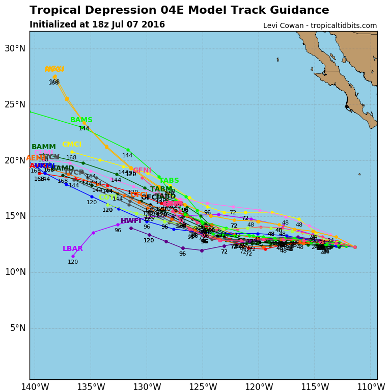 Computer model forecasts for the track of Tropical Depression Four-3. Image provided by Tropical Tidbits.