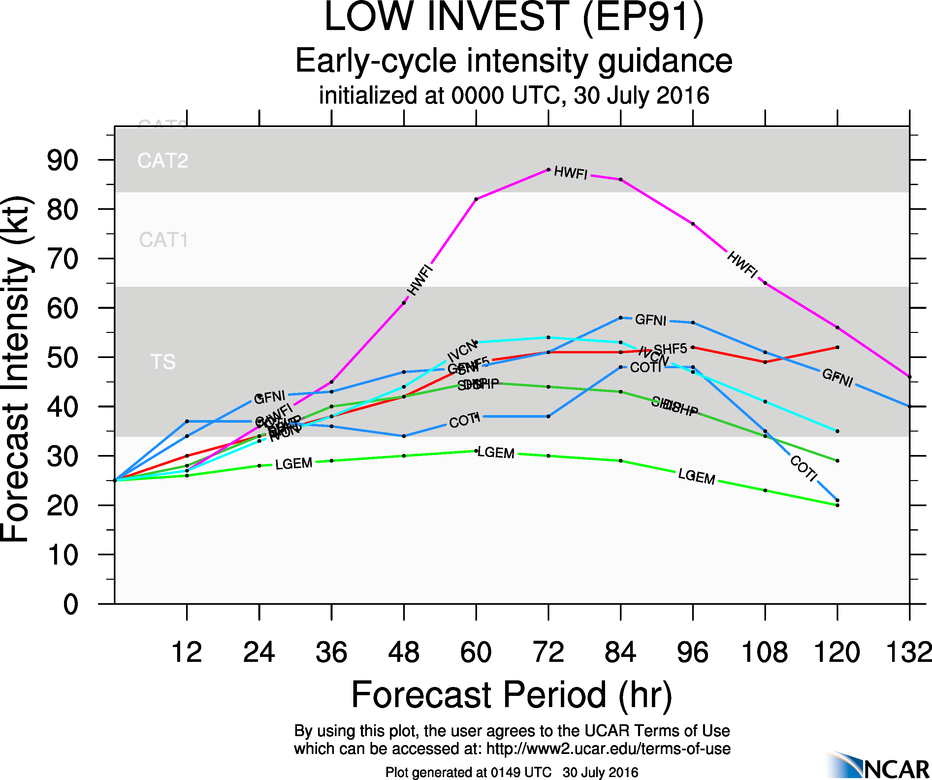 Model forecasts for the intensity of a tropical disturbance in the Eastern Pacific. Image provided by NCAR.