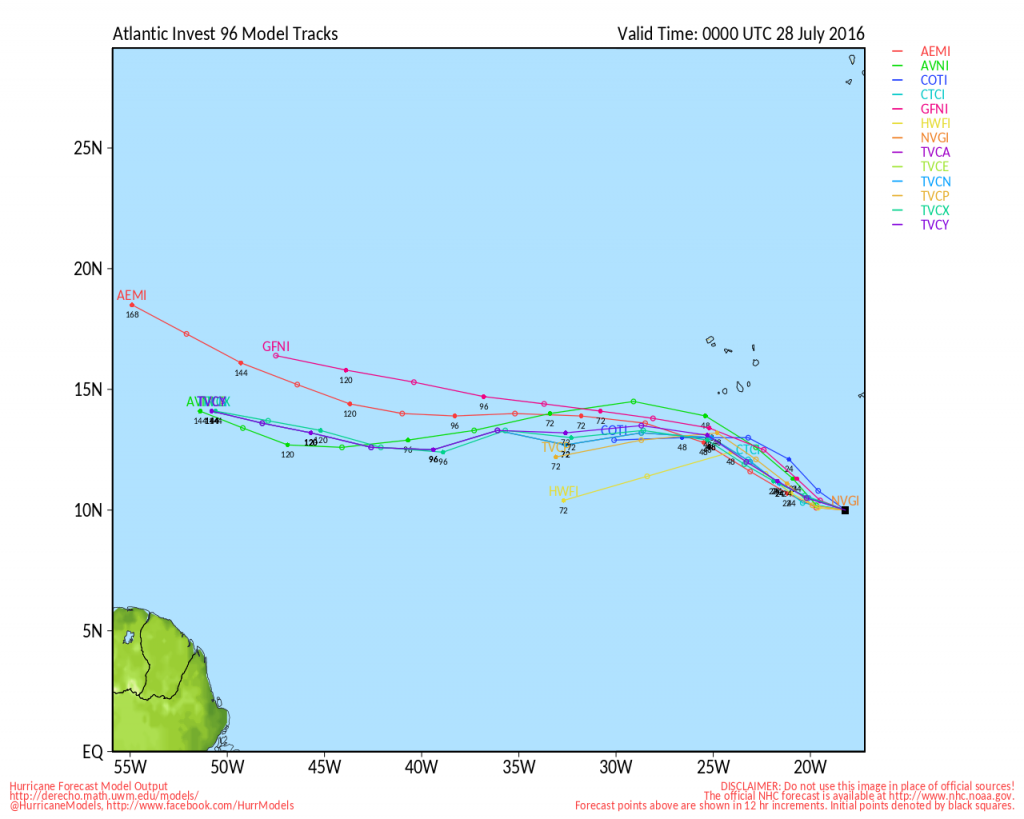Model forecasts for the track of a tropical disturbance in the Eastern Atlantic. Image provided by the University of Wisconsin.