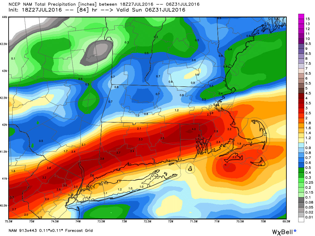 NAM model forecast for total rainfall through Saturday night. Image provided by WeatherBell.