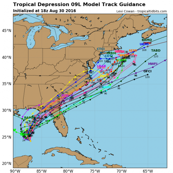 Model forecasts for the track of Tropical Depression Nine. Image provided by Tropical Tidbits.