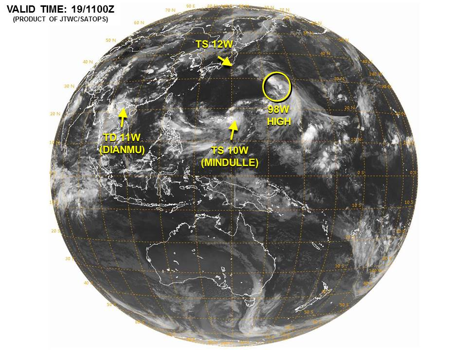 Satellite image showing 3 active tropical systems and a potential system in the Western Pacific Ocean. Image provided by the Joint Typhoon Warning Center.