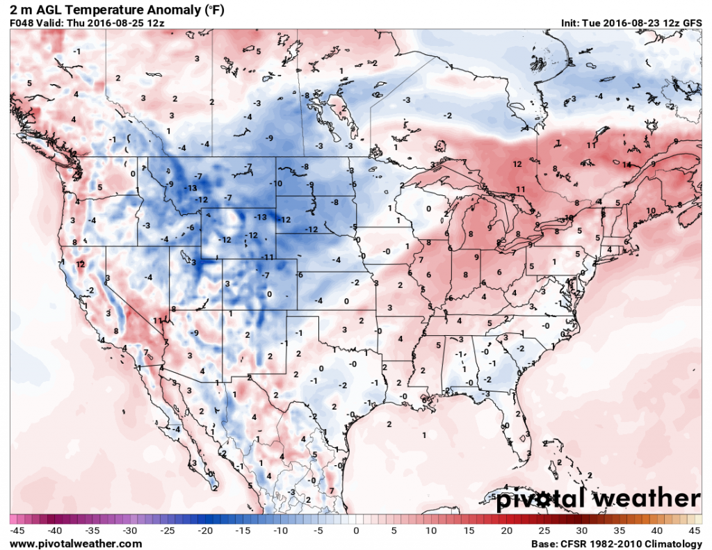 Temperature anomaly map based on the GFS model for Thursday morning. Image provided by Pivotal Weather,