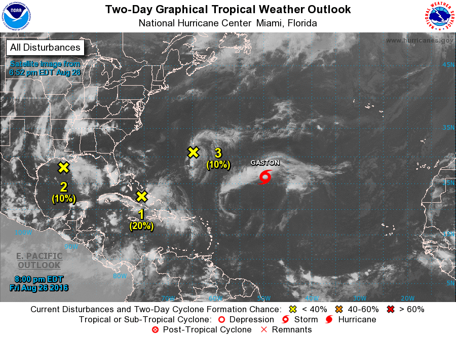 In addition to Tropical Storm Gaston, there are 3 disturbances being watched in the Atlantic. Image provided by the National Hurricane Center.