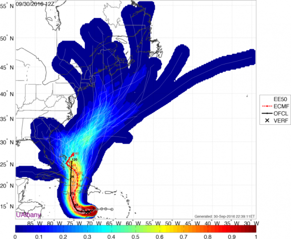 Forecast tracks for Matthew from the ECMWF Ensemble. Image provided by Brian Tang, University at Albany