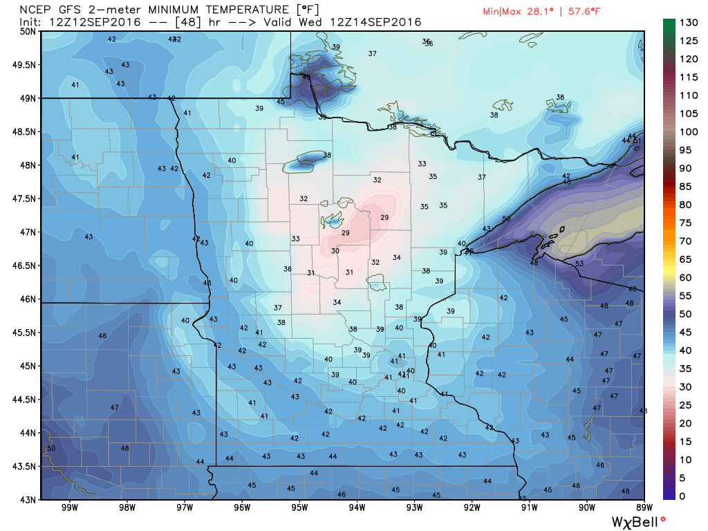 GFS model forecast for low temperatures across Minnesota Wednesday morning. Image provided by WeatherBell.