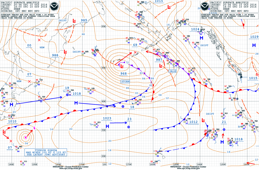 Surface analysis across the Pacific Ocean from Monday afternoon October 10. Image provided by NOAA.