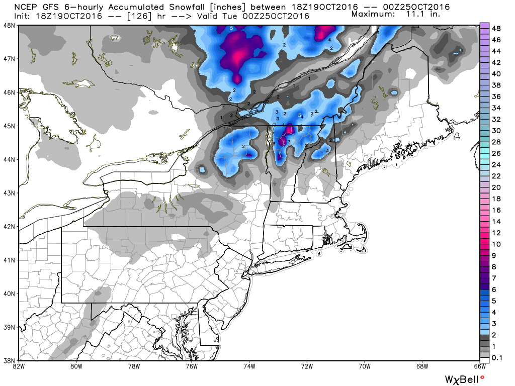 Expected snowfall through Monday evening across the Northeast. Image provided by WeatherBell.