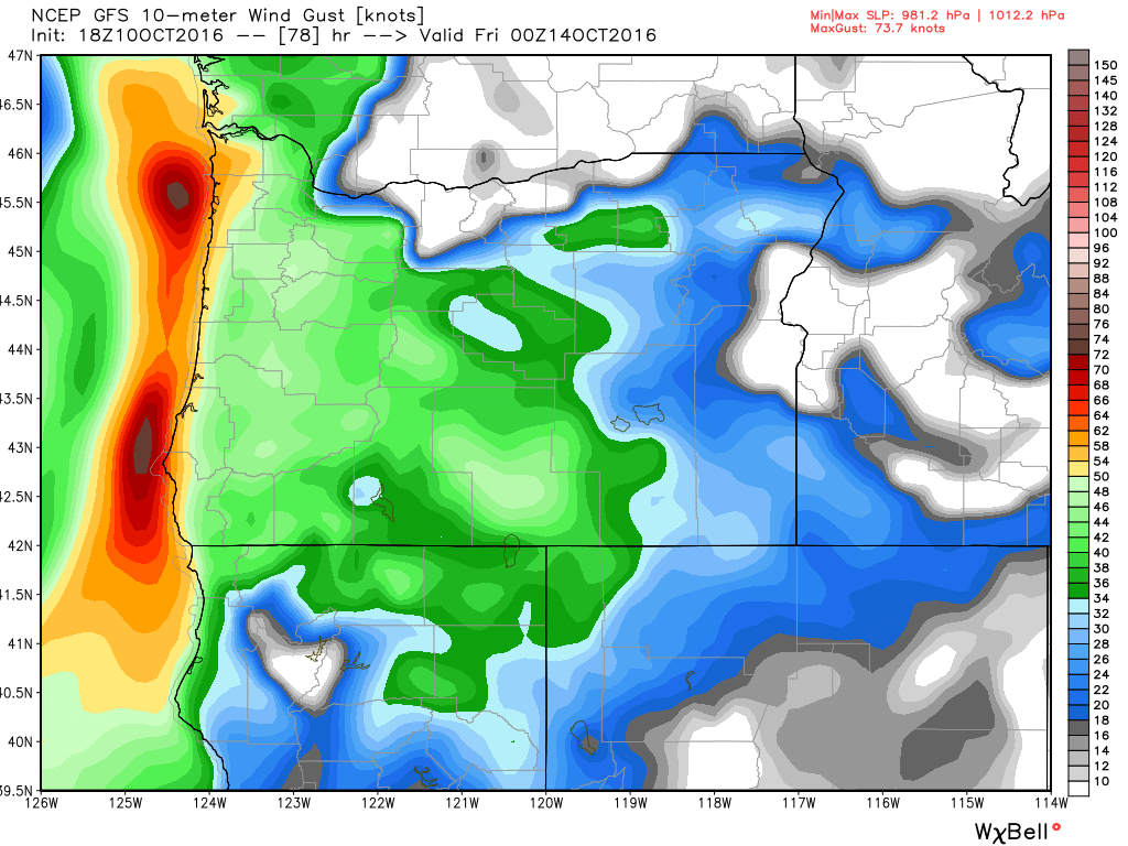 GFS model forecast for peak wind gusts along the coast of Oregon Thursday afternoon. Image provided by WeatherBell.