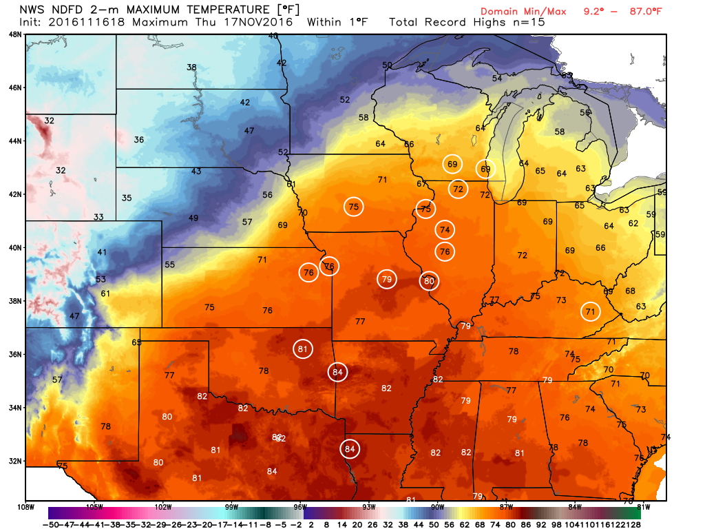 Numerous record high temperatures are expected on Thursday across the Mississippi Valley. Image provided by WeatherBell.