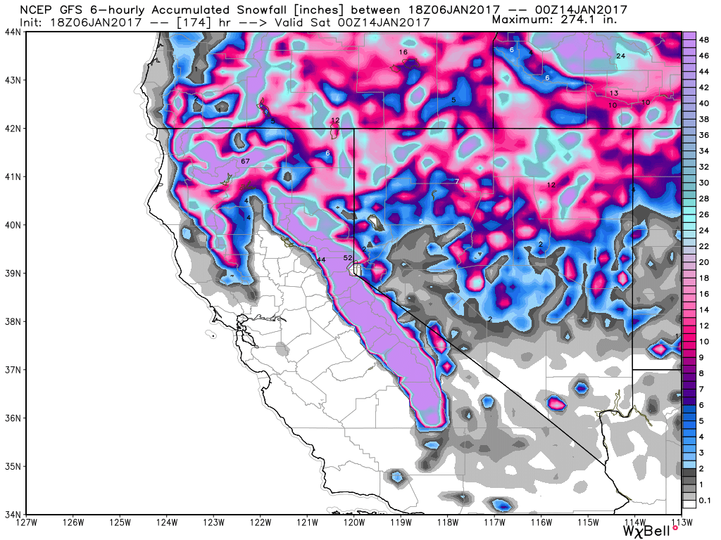 GFS Model forecast for snowfall through next Friday evening. Image provided by WeatherBell.