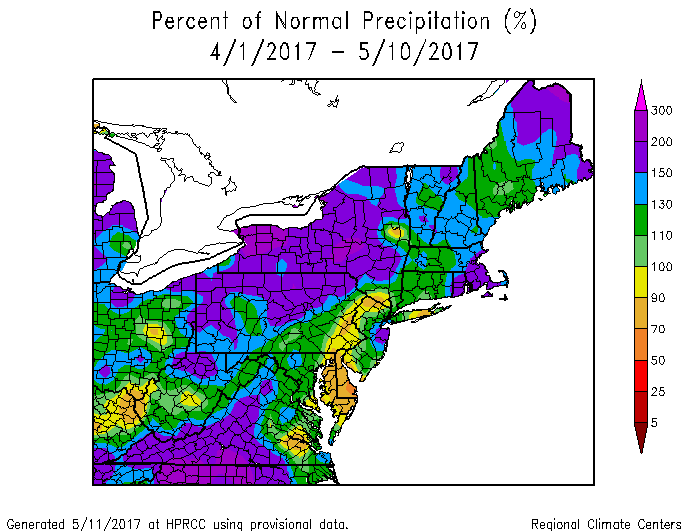 The last 2 months have seen well above normal rainfall across the Northeast. Image provided by Northeast Regional Climate Center.