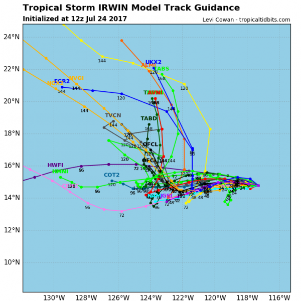 Model forecasts for the track of Tropical Storm Irwin. There is plenty of disagreement among the models on its eventual track. Image provided by Tropical Tidbits.