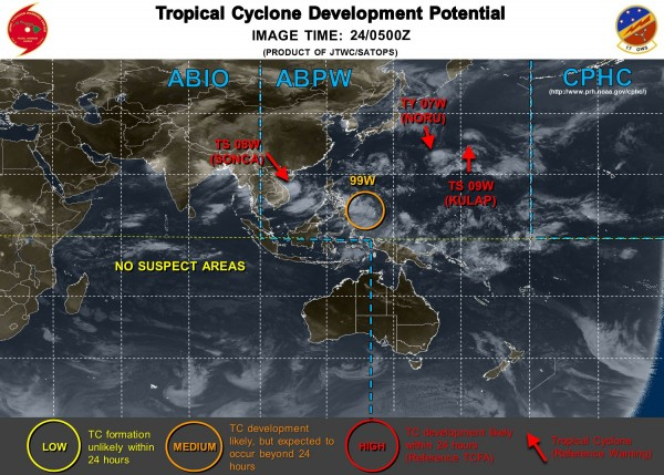 Satellite photo showing 3 active systems and another potential tropical system in the Western Pacific. Image provided by the Joint Typhoon Warning Center.